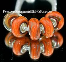 "*ONE~""Sedona Sun"" Murano Glass Bead Sterling Silver non thread core"