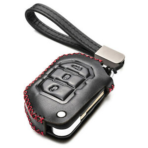 Vitodeco 3-Button Leather Flip Key Fob Case Cover for 2018 - 2021 Jeep Wrangler