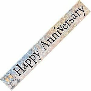 9ft Happy Anniversary Hearts Foil Banner Wedding Party Decorations