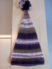 Bonnet de lutin en tricot ligné mauve, beige, brun et écru, taille 2 ans, neuf
