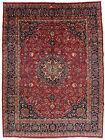 Vintage Floral Sabzevar Rug, 11'x15', Red/Blue, Hand-Knotted Wool Pile