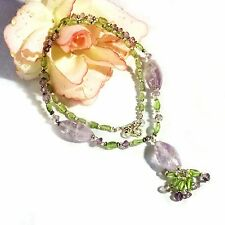 PERIDOT AMETHYST Collier Kette 925 Silber UNIKAT Gothic Necklace