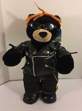 Black Bear w/ Harley Davidson Bandana & Leather Jacket Build-A-Bear w/ Stand