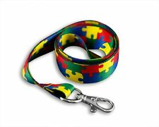 Autism Awareness Colorful Puzzle Piece Lanyards (Wholesale Pack - 25 Lanyards)