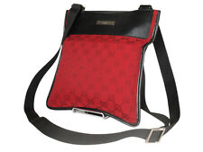 GUCCI GG Web Canvas Leather Red Crossbody Shoulder Bag GS2529