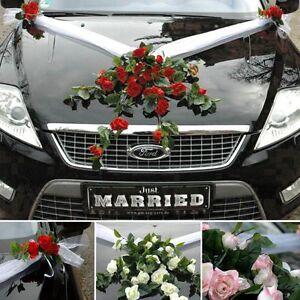 Spitze Strauß Autoschmuck Braut Paar Deko Car hochzeit Wedding Rose Girlande