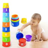 Stack & Nest Plastic Cups Rainbow Stacking Tower Educational D5Z2 Stacking R5C9