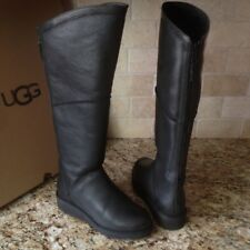 UGG KENDI CLASSIC SLIM BLACK LEATHER WEDGE KNEE HIGH TALL BOOTS SIZE US 7 WOMENS