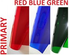 "3 X PRIMARY COLOURS Lighting Filter Gel Sheets 24"" x 24"" PRIME RED BLUE GREEN"