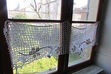 Bastante antiguo francés de algodón de ganchillo Pompón Cortina apósito/Estante Recortar c1920
