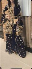 Pakistani Wedding Dress Blue And Gold Gharara