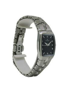 Bulova Accutron 96P04 Women's Clear Stone Black Tonneau Stainless Steel Watch