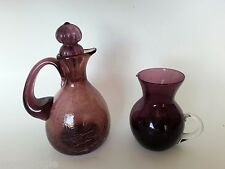 Vintage CRACKLED AMETHYST GLASS CRUET CREAMER BLENKO Mid Century DANISH MODERN