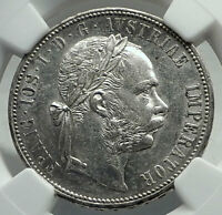 1878 AUSTRIA King FRANZ JOSEPH I Genuine Antique Silver Florin Coin NGC i79820