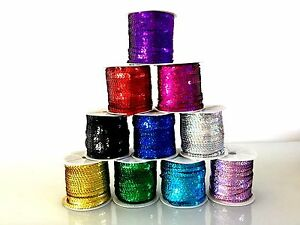 5M Laser Strung Flat Sequin String 6mm Trim Lace Ribbon Sew Craft Dance Costumes