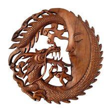 tolles Holz RELIEF rund Drache Mond Handarbeit Bali Dragon Deko Moon Rel16