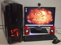"FULL GAMING PC SET i5 QUAD 3GHz 16GB 1TB 2GB GDDR5 GT 730 19"" TFT WIN7 WiFi R+"