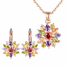 Luxury 18k Gold Plated Flower Jewelry Sets For Women Wedding With AAA Zirconia