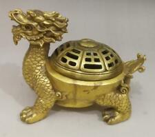 Folk China FengShui Pure Brass Dragon Turtle Eight Diagrams Incense Burner