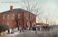 Kansas postcard Fort Scott Plaza School and students