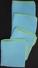 SET 4 PLACEMATS BLUE/GREEN REVERSIBLE COTTON FABRIC RECTANGULAR CLOTH