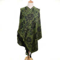 Grand Châle - Pashmina - Vert  Floral Foulard - Etole 180 X 70