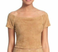 Alice + Olivia Gracelyn Women's Off the Shoulder Suede Crop Top in Tan Size 4