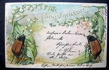 2 BEETLES  1910-20s sending good wishes on Pfingstgruss PENTECOST EMBOSSED