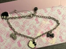 NWT Sanrio Hello Kitty Bracelet Bows Face Crystal Black White Silver Adjustable