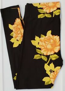 TC LuLaRoe Tall & Curvy Leggings Peach Roses on Black NWT F23