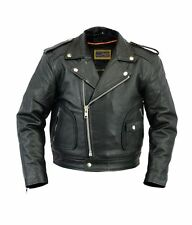 Kids Classic Motorcycle Jacket Black Leather 8 Boys Biker Coat Childs Beltless