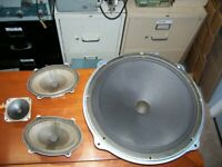 VINTAGE RCA SPEAKERS REMOVED FROM A 3 CHANNEL STEREO CABINET.