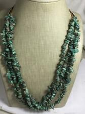 "Ethnic multi strands rustic Africa turquoise nugget necklace/24"" /(b102i-w4.