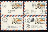 UXC19 4 - 28c Air Mail Postal Cards - USED to Different Countries