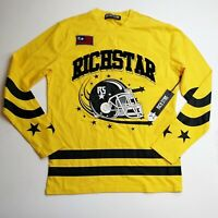 Rich Star 100%authentic mens LS tshirt Size large logo football yellow 95 black