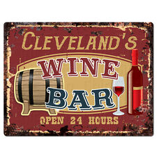PMWB0545 CLEVELAND'S WINE BAR OPEN 24HR Rustic Chic Sign Home Store Decor Gift