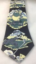 GOLFING LOONEY TUNES HAND MADE RENE CHAGAL NAVY CARTOON TIE BUGS BUNNY TAZ