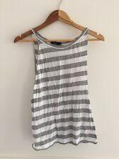 BASSIKE Wide Stripe White & Grey Marle Low Side Singlet Size XS