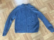 Pendleton Womens XL Blue Cable Knit Full Zip Sweater Cotton