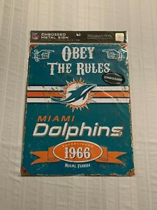 """Miami Dolphins NFL Embossed Metal Wall Sign 15""""x12"""" Party Animal Brand New"""