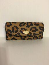 Coach Ocelot Print Pop Slim Envelope Leather Wallet w/ pouch $250 New