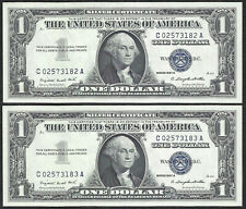 1957A $1 SILVERS! (~2 Consecutive~) CRISP AU! Old US Paper Money Currency!