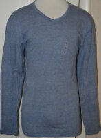 Men's Old Navy Blue Mini Stripe Long Sleeve Classic Core V-Neck Top S,M,L,XL, 2X