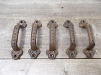 """5 Rustic Cabinet Handle Cast Iron Drawer Pull Door Antique Style 5 1/2"""" Hardware"""