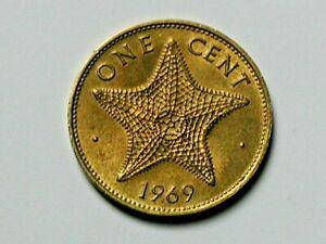 Bahamas 1969 1 CENT Coin AU+ Toned-Lustre with Starfish (Ocean Animal)