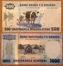 Rwanda Banknotes. 500 & 1000 Francs. Uncirculated