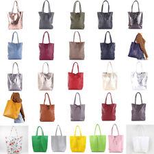 Damen Groß Shopper Schulter Hand Tasche Italy Echtes Leder Leather Pelle A4 NEU