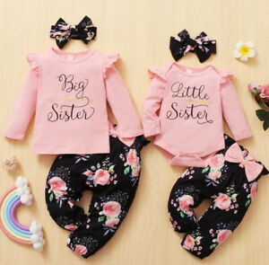 Toddler Baby Girls Matching Clothes Big/Little Sister Tops Romper Pants Outfits
