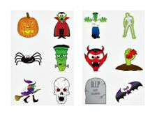 36 Halloween TATTOOS party bag filler sticker kid witch pumpkin spider bat