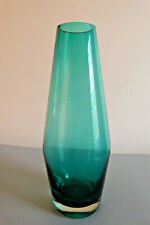 Riihimaki Teal Blue Glass Vase Tamara Aladin Suomi Finland with Label